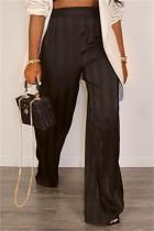 Black Fashion Casual Striped Basic Regular High Waist Trousers