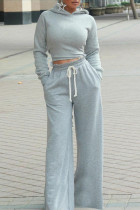 Grey Casual Solid Split Joint Backless Hooded Collar Long Sleeve Two Pieces