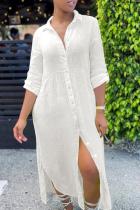 Cream White Casual Solid Slit Turndown Collar Shirt Dress Dresses