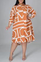 Orange Fashion Casual Plus Size Print Basic Turndown Collar Shirt Dress