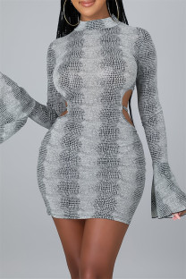 Grey Fashion Sexy Print Bandage Backless Half A Turtleneck Long Sleeve Dresses
