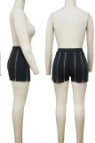 Black Street Solid Split Joint Zipper Straight High Waist Straight Solid Color Bottoms