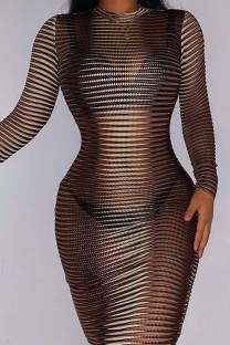 Khaki Sexy Striped Print Split Joint O Neck Long Sleeve Dresses