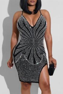 Black Fashion Sexy Hot Drilling Split Joint Backless Slit V Neck Sling Dress