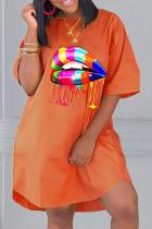 Tangerine Casual Print Split Joint O Neck Straight Dresses