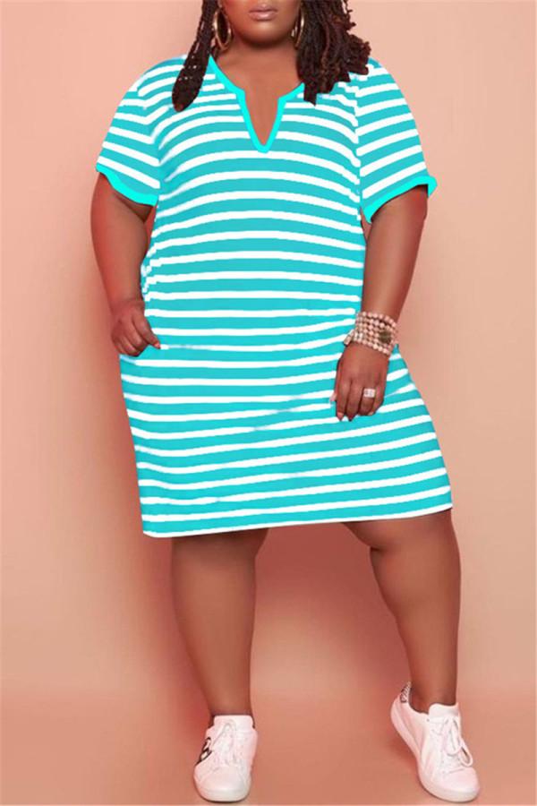 Cyan Fashion Casual Plus Size Striped Print Basic V Neck Short Sleeve Dress