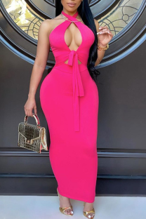 Rose Red Sexy Solid Hollowed Out Halter Pencil Skirt Dresses