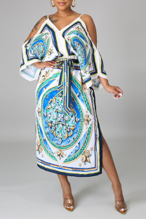 Blue Sexy Print Split Joint Spaghetti Strap Irregular Dress Dresses