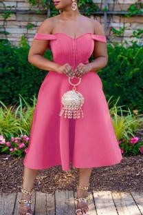 Pink Casual Solid Split Joint Off Shoulder A Line Dresses