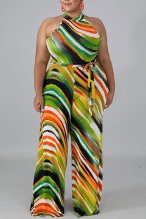 Green Yellow Sexy Striped Print Bandage Split Joint Backless Halter Straight Jumpsuits