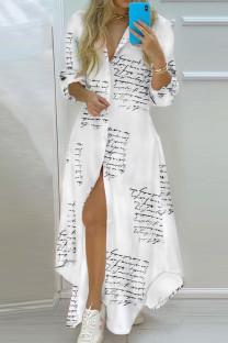 White Casual Print Split Joint Turndown Collar Shirt Dress Dresses