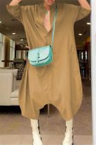 Khaki Fashion Casual Solid Basic V Neck Loose Jumpsuits