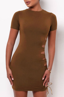 Brown Sexy Solid Hollowed Out Split Joint Frenulum O Neck Short Sleeve Dress Dresses
