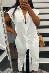 White Sexy Solid Split Joint Buckle Asymmetrical Turndown Collar Sleeveless Two Pieces