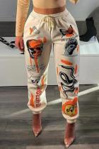 Apricot Fashion Casual Print Basic Regular High Waist Trousers