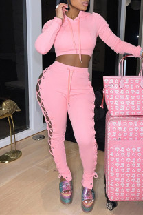 Pink Fashion Casual Solid Bandage Hollowed Out Long Sleeve Two Pieces