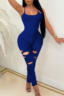 Royal Blue Sexy Solid Ripped Split Joint Spaghetti Strap Skinny Jumpsuits