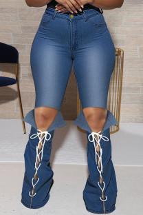 Blue Fashion Casual Solid Bandage Slit Plus Size Jeans