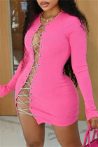 Rose Red Fashion Sexy Solid Bandage Hollowed Out O Neck Long Sleeve Dresses