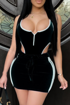 Black Fashion adult Patchwork backless HOLLOWED OUT Solid Two Piece Suits asymmetrical Hip skirt