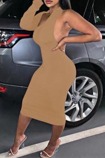 Khaki Fashion Sexy Solid Backless Oblique Collar Irregular Dress Dresses