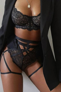Black Sexy Solid Lace Hollowed Out Split Joint Solid Color Lingerie