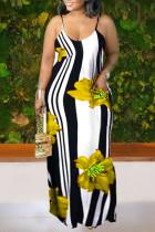 Yellow Casual Print Split Joint Spaghetti Strap Straight Dresses