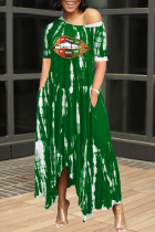 Green Casual Print Split Joint One Shoulder Irregular Dress Dresses