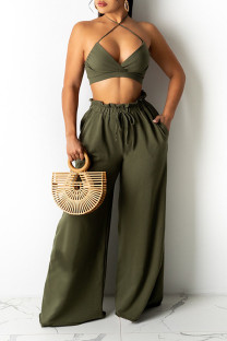 Army Green Sexy Solid Split Joint Halter Sleeveless Two Pieces