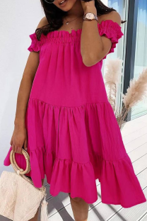 Rose Red Sweet Solid Split Joint Flounce Off the Shoulder Cake Skirt Dresses