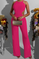 Rose Red Sexy Solid Split Joint Frenulum Backless O Neck Loose Jumpsuits