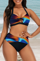 Blue Sexy Print Hollowed Out Split Joint Swimwears