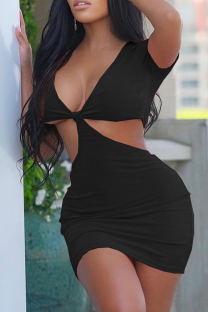 Black Sexy Solid Hollowed Out V Neck Pencil Skirt Dresses