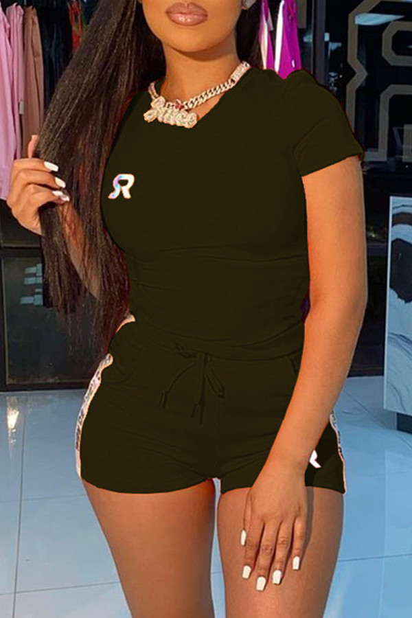 Black Fashion Casual adult Ma'am Letter Two Piece Suits Straight Short Sleeve Two Pieces