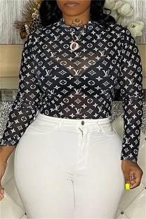 Black Fashion Sexy Print See-through O Neck Tops