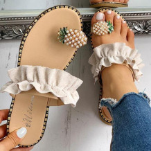 Cream White Fashion Casual Split Joint Comfortable Slippers