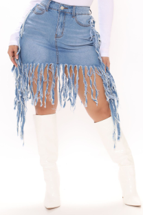 Light Blue Casual Solid Tassel Skinny Mid Waist Pencil Solid Color Bottoms