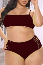 Burgundy Sexy Solid Hollowed Out Backless Spaghetti Strap Plus Size Swimwear