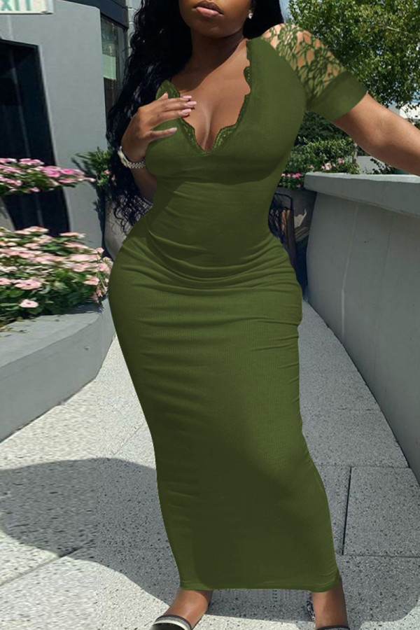 Army Green Fashion Solid Split Joint V Neck Short Sleeve Dress