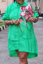 Green Casual Print Turndown Collar Shirt Dress Plus Size Dresses