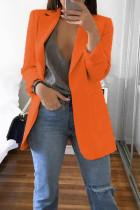 Orange Fashion Casual Solid Cardigan Turndown Collar Plus Size Coats