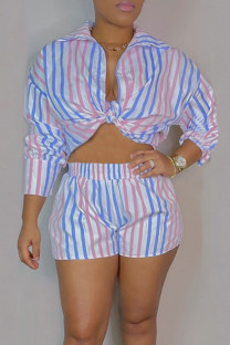 Powder Blue Casual Striped Print Split Joint Turndown Collar Long Sleeve Two Pieces