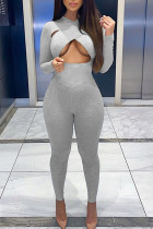 Grey Sexy Solid Hollowed Out Split Joint O Neck Skinny Jumpsuits
