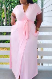 Pink Fashion Casual Plus Size Solid Bandage V Neck Short Sleeve Dress