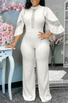 White Fashion Casual Solid Split Joint See-through Half A Turtleneck Regular Jumpsuits