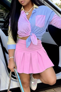 Pink Fashion Sexy Patchwork Basic Turndown Collar Long Sleeve Two Pieces