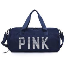 Deep Blue Casual Sportswear Hot Drilling Split Joint Zipper Bags