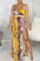 Purple Sexy Print High Opening Spaghetti Strap Straight Dresses