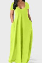 Fluorescent Green Casual Solid Split Joint Pocket V Neck Short Sleeve Dress Dresses
