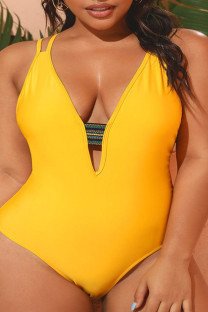 Yellow Sexy Solid Split Joint Backless V Neck Plus Size Swimwear